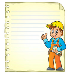notepad page with construction worker vector image