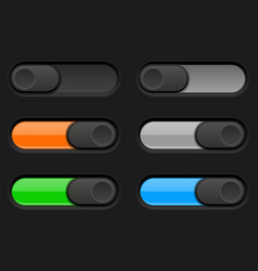 On and off long oval icons black and colored vector
