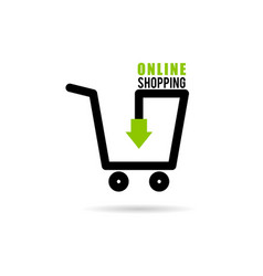 online shopping icon with basket vector image