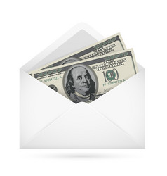 Open envelope containing dollar banknotes on a vector