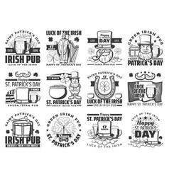Patricks irish holiday icons pub signs vector