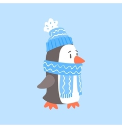Penguin In Blue Scarf And Hat Arctic Animal vector image