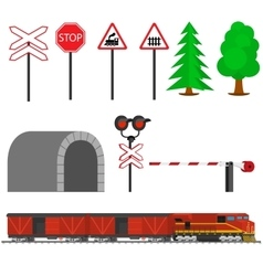 Railroad traffic way and train with boxcars vector