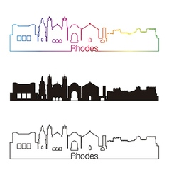 Rhodes skyline linear style with rainbow vector