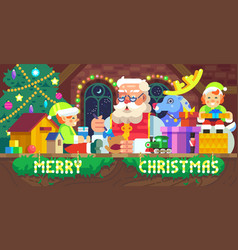 santa claus in a workshop vector image