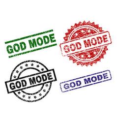 Scratched textured god mode stamp seals vector