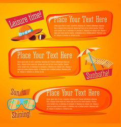 set cute summer icons with typographic elements vector image