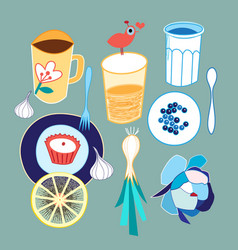 set different food and drink vector image