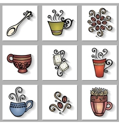 Set of Ornamental Coffee Cups with Long Shadow vector image