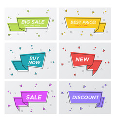 set of six flat ribbon sale tags in bright colors vector image