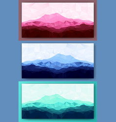 Set of triangle low poly mountains vector