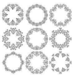 set round frames beautiful floral ornaments vector image