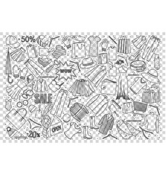 shopping doodle set vector image