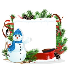Snowman and Christmas wreath vector