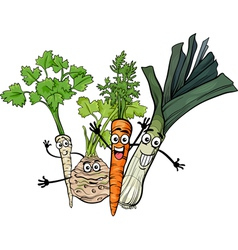 soup vegetables group cartoon vector image
