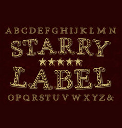Starry label font isolated english alphabet vector