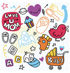 Sticker icons hand drawn doodle children vector
