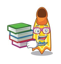 Student with book swim fin mascot cartoon vector
