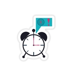 Stylish sticker on paper alarm clock money vector