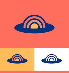 sunset logo tourism or travel emblem sun icon vector image