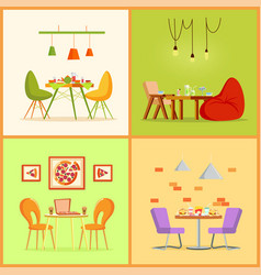 table and chairs interior food and drinks vector image