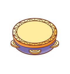 Tambourine musical instrument for kid baby toy vector