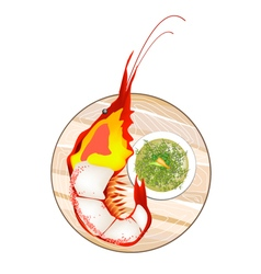 Thai Grilled Giant Prawn with Spicy and Sour Sauce vector image