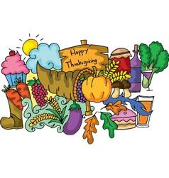 Thanksgiving element of doodle art vector