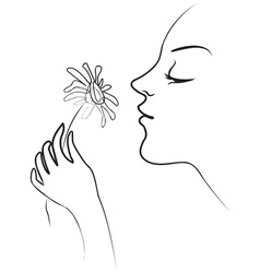 The girl holds in her hand tenderly daisy Smelling vector image