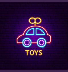 Toys neon label vector