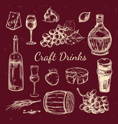 Traditional wine hand drawn elements set vector