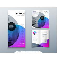 Tri fold brochure design purple corporate vector