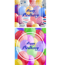 Two happy birthday card with balloons in vector