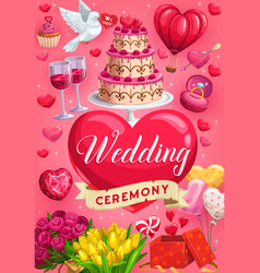 Wedding day ceremony invitation cake hearts vector