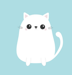 White cute sitting cat baby kitten kawaii animal vector