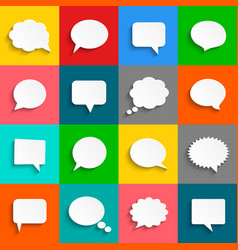 white speech bubbles icon set vector image