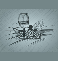 Wine glass and grapes sketch pictures vector