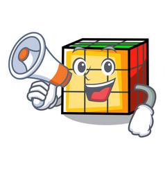 with megaphone rubik cube character cartoon vector image