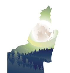 Wolf howling in night forest2 vector