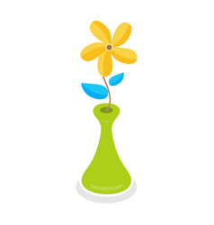 yellow flowers in the green vase isolated vector image