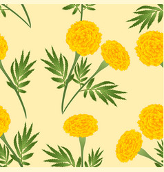 Yellow marigold on ivory beige background vector