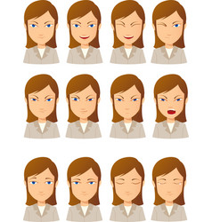 young woman face expression set vector image