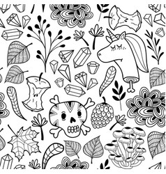 black and white endless pattern with cartoon skull vector image vector image