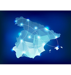 Spain country map polygonal with spot lights vector image