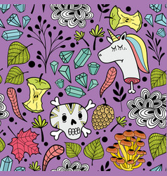 colorful endless pattern with cartoon skull and vector image vector image