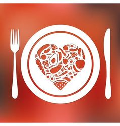 fruits and vegetables heart in plate vector image