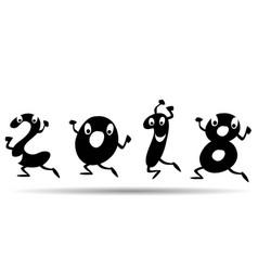 happy 2018 cartoon style vector image vector image