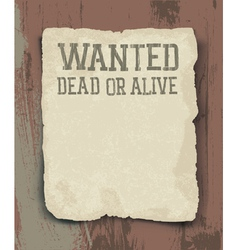wanted poster vintage vector image vector image