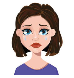 woman crying female emotion face expression cute vector image