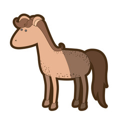 brown clear silhouette of cartoon horse with vector image